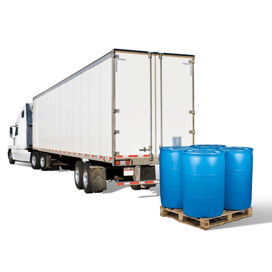 Barrels behind a semi truck